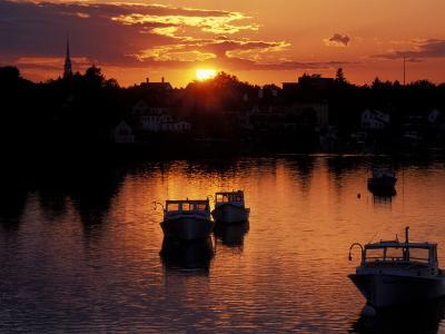 Sunset on Boats in Portsmouth Harbor, New Hampshire, USA