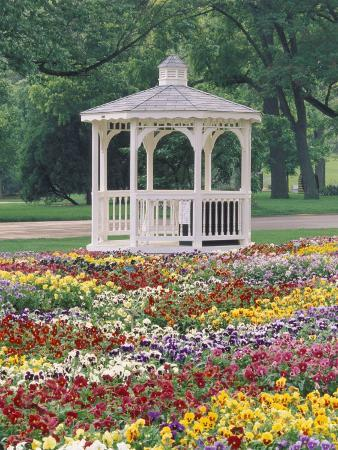 Patchwork of Pansies and Gazebo, Columbus, Ohio, USA