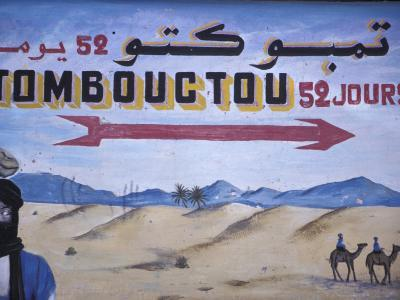 Colorful Sign Showing Way to Timbuktu, Morocco