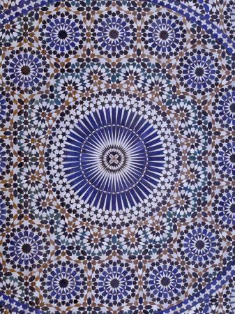 Zellij (Geometric Mosaic Tilework) Adorn Walls, Morocco
