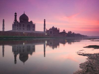 Taj Mahal From Along the Yamuna River at Dusk, India