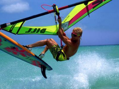 Windsurfing Jumping, Aruba, Caribbean