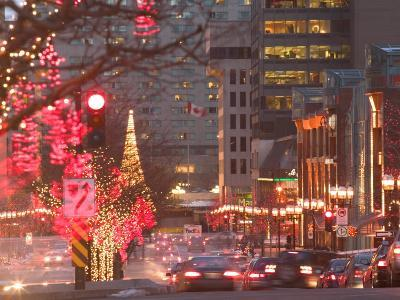 Avenue McGill College with Christmas Decor, Montreal, Quebec, Canada