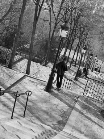 Morning on the Staircase to Montmartre, Rue Foyatier, Montmartre, Paris, France