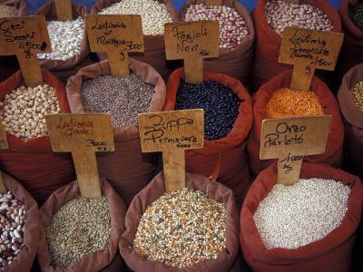 Beans and Grain at Market in Campo de' Fiori, Rome, Italy