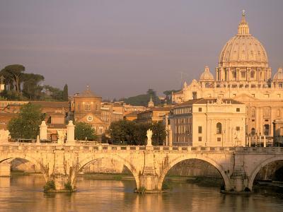 Basilica San Pietro and Ponte Sant Angelo, The Vatican, Rome, Italy