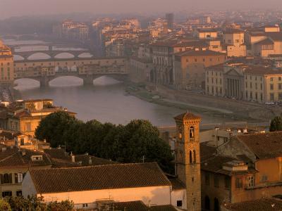 Ponte Vecchio Bridge, Arno River, Piazza Michelangelo, Florence, Tuscany, Italy