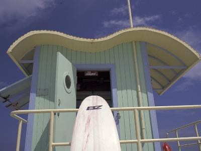 Surfboard at Lifeguard Station, South Beach, Miami, Florida, USA