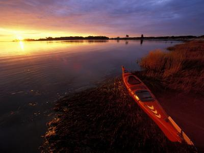 Kayak and Sunrise in Little Harbor in Rye, New Hampshire, USA