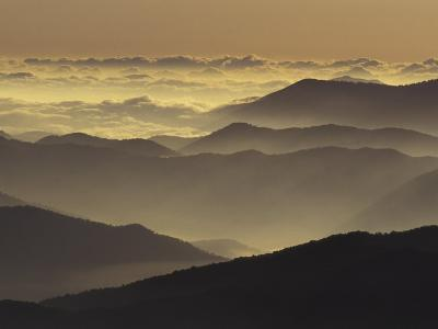 Mountain Ridges at Sunrise, Great Smoky Mountains National Park, Tennessee, USA