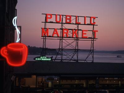 Neon Sign of Coffee Cup at Pike Place Market, Seattle, Washington, USA