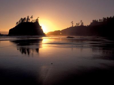Sunset at Second Beach, Olympic National Park, Washington, USA