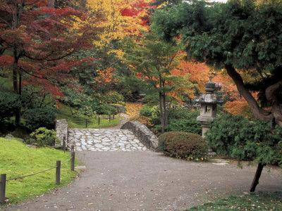 Pathway and Stone Bridge at the Japanese Garden, Seattle, Washington, USA