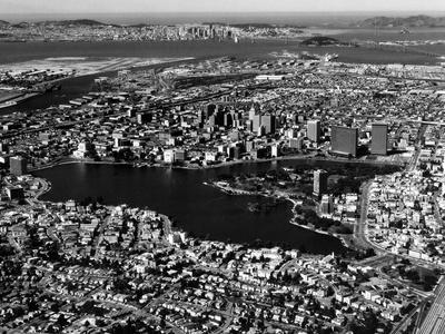 This Aerial View Shows the City of Oakland, Calif., in the Foreground