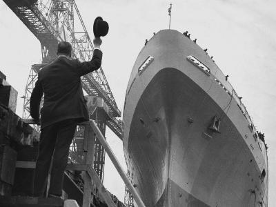 Shipyard Director Waves off the Ship at the Launch of the Transvaal Castle, January 1961
