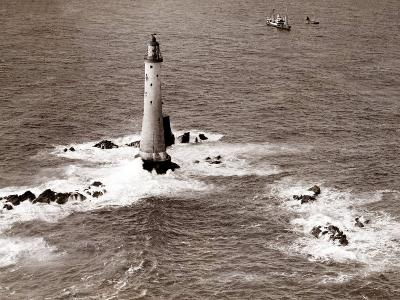 A Trinity House Steamer Waits off the Eddystone Lighthouse to Deliver Christmas Supplies, 1938