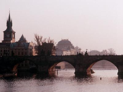 View of Charles Bridge and River Buildings in Background, Czech Republic Prague
