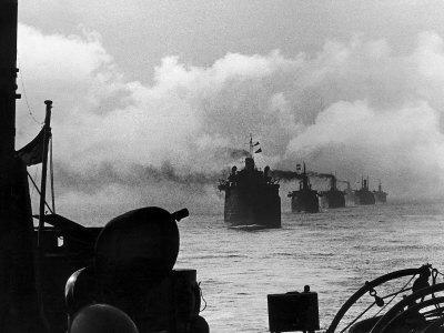 A WW2 Convoy of Steam Supply Ships Sailing Along the English Coast, 1942