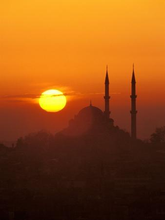 Silhouette of the Faith Mosque at Sunset, Istanbul, Turkey