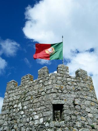 Portuguese Flag on Tower of Castelo dos Mouros, Portugal