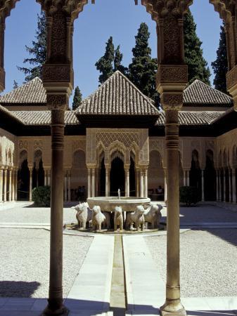 Patio de los Leones in the Alhambra, Granada, Spain
