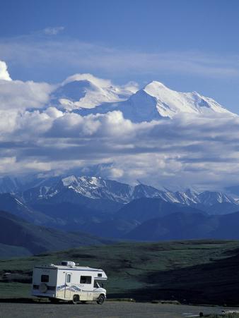 Mt. McKinley and RV, Denali National Park, Alaska, USA