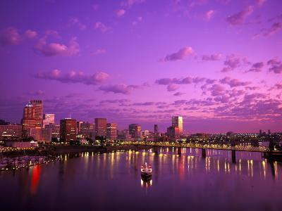Sunrise over Spirit of Portland Ship, Willamette River, Portland, Oregon, USA