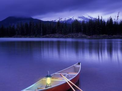 Canoe and Lantern on Banks of Sparks Lake, Cascade Range, Oregon, USA