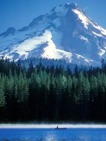 Rafting on Frog Lake, Mt. Hood in Background, Oregon, USA