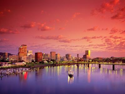 The Portland Spirit on the Willamette River at Sunrise in Portland, Oregon, USA