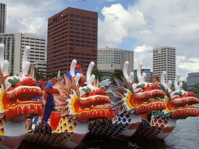 Contestants Preparing Dragon Boats for the Rose Festival Dragon Boat Races, Portland, Oregon, USA