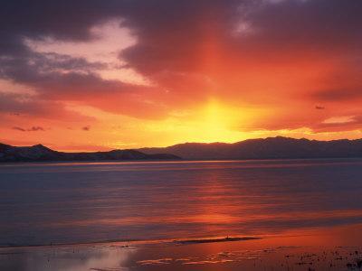 Sunset over Farmington Bay, Great Salt Lake, Utah, USA