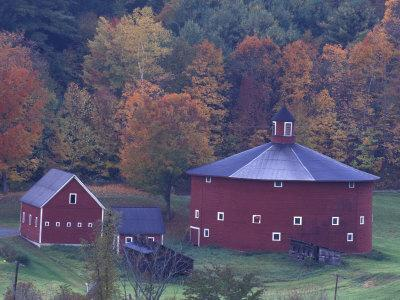 Red Round Barn in Autumn, East Barnet, Vermont, USA