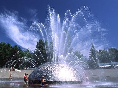 Children Play in the International Fountain of Seattle Center, Seattle, Washington, USA