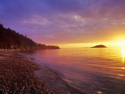 Sunset at North Beach at Deception Pass State Park, Washington, USA