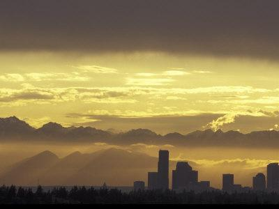 Seattle Skyline and Olympic Mountains, Washington, USA