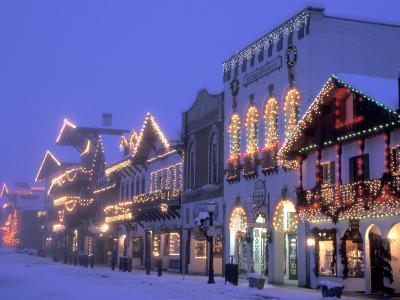Main Street with Christmas Lights at Night, Leavenworth, Washington, USA