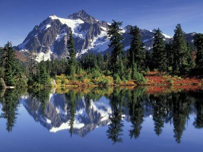 Mount Shuksan at Picture Lake, Heather Meadows, Washington, USA