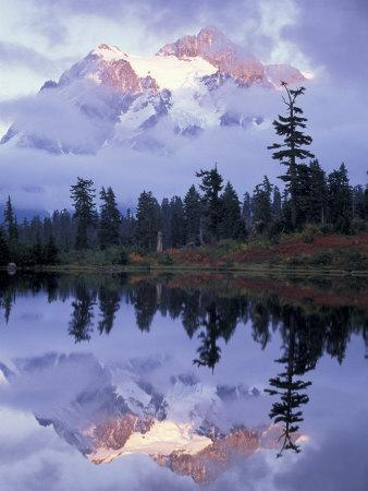 Mount Shuksan Reflected in Picture Lake, Heather Meadows, Washington, USA