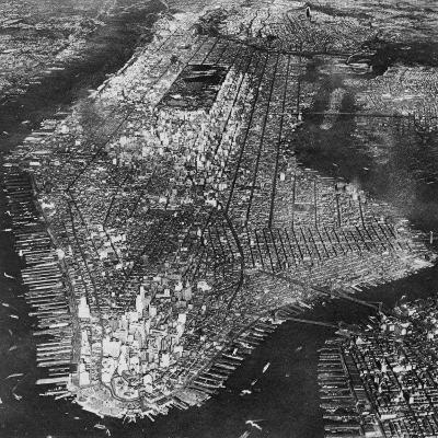 Aerial View of Greater New York, Showing Manhattan Island