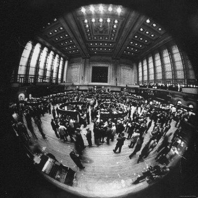 Fish Eye View of the Action on the Floor of the New York Stock Exchange