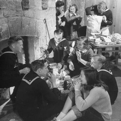 Boys from Navy Air Force Picnicking with College Girls