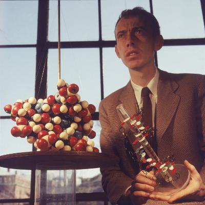 Pioneer Geneticist Biologist James Watson with Molecular Model of DNA