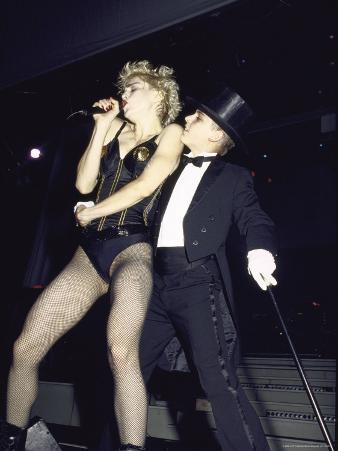 Singer Madonna Performing with Dancer