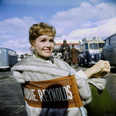 """Actress Debbie Reynolds at Airport During Filming of """"It Started with a Kiss"""""""