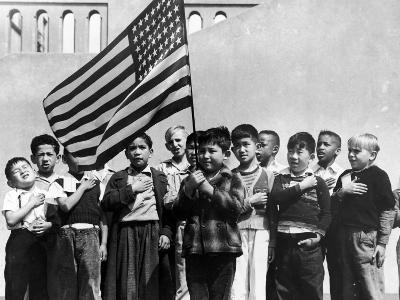 American Children of Japanese, German and Italian Heritage, Pledging Allegiance to the Flag