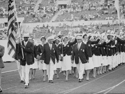 Rafer Johnson Leading USA Athletes During the Opening Day. 1960 Olympics. Rome, Italy