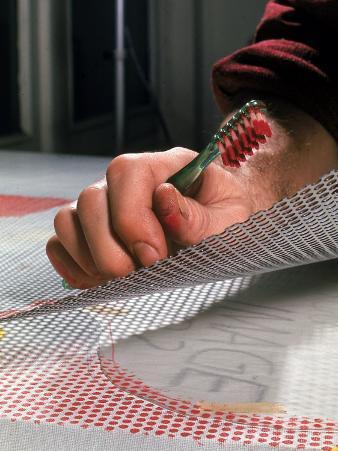 Hands of Pop Artist Roy Lichtenstein at Work in His Studio