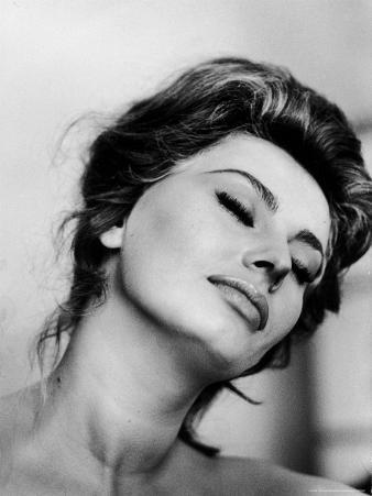 Portrait of Actress Sophia Loren with Eyes Closed