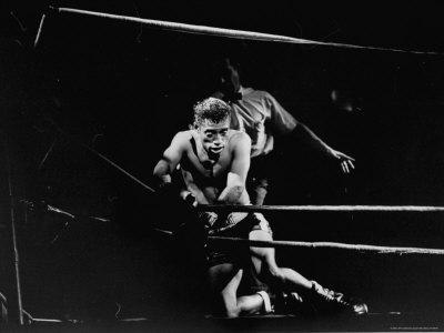 "Actor Sammy Davis Jr, Struggling Against Ropes in Scene from Play, ""Golden Boy"""